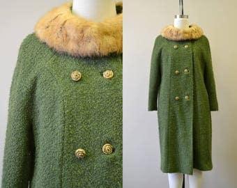1950s Youthcraft Green Boucle Wool Coat