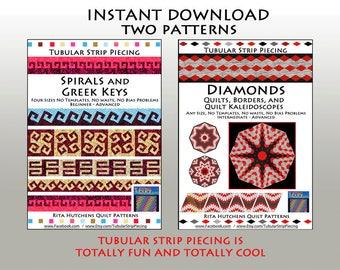 Two Tubular Strip Piecing Patterns/  Spirals/Greek Keys, Diamond/Kaleidosopes