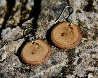 barky oak - sterling silver and natural wood earrings