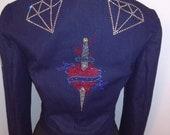 black denim jacket and dimonds