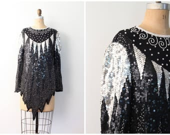 vintage 80s sequined & beaded silk top - micro mini dress / Deco inspired 80s beaded top / modern flapper blouse - 70s disco top