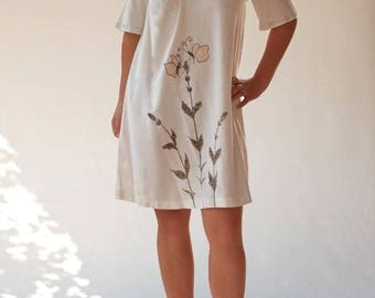 White linen tunic dress painted and embroidered by hand