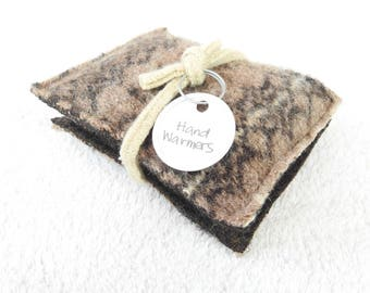 Pocket Hand Warmers BROWN FAIR ISLE Wool Handwarmers Upcycled Rice Bags Teacher Coworker Gift Stocking Stuffer Under 10 by WormeWoole