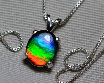 Ammolite Necklace, Rainbow Ammolite Pendant, Sterling Silver, 11x9mm Oval Cabochon, Alberta Canada Gemstone, Jewelry