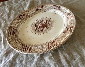 Vintage Brown transfer ware Ironstone platter. My vintage home.