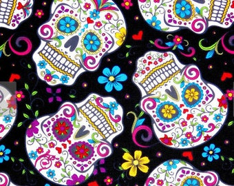 END OF BOLT 12 inches long, Sugar skulls fabric, 100% cotton for Quilting, crafting and all sewing projects.