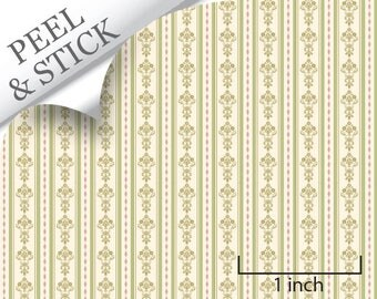 Quarter Scale Wallpaper-Peel and Stick-Bouquet Stripe, Green