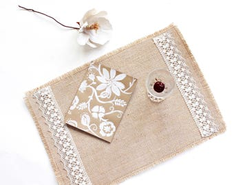 Burlap Table Placemats Adorned with Linen Lace Ribbons - Country Chic Table Decor - Elegant & Beautiful Home Accesories