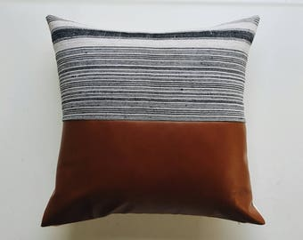 Black Striped Hmong and Faux Leather Pillow Cover - Boho Modern Farmhouse Minimalist Throw Pillows