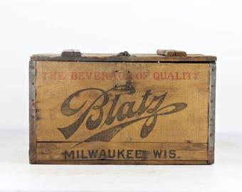 Vintage Beer Crate Vintage Blatz Beer Wood Crate 1927 Blatz Beer Wood Crate Blatz Beer Wood Box Old Beer Crate Prohibition Beer Crate