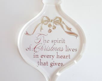 1984 Thank You Hallmark Keepsake Ornament, The spirit of Christmas lives in every heart that gives