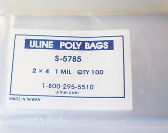 """900 Poly Bags 2 x 4"""" 1 mil - Perfect for Button Packaging"""