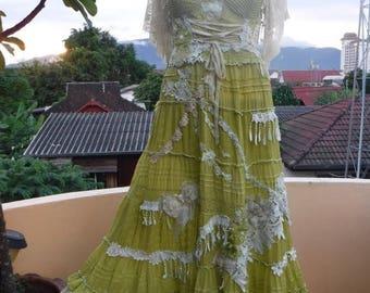 20%OFF wedding bridesmaid vintage bohemian gypsy hippy lagenlook bustier dress...smaller to firmer 38'' bust..