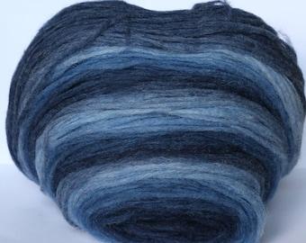 Thin Wool Pencil Roving, Pre-Yarn, Knitting, Spinning or Felting Fiber, Denim color
