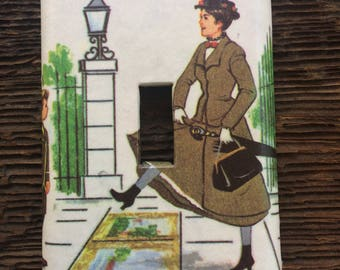 Mary Poppins Switch Plate / Upcycled / Recycled