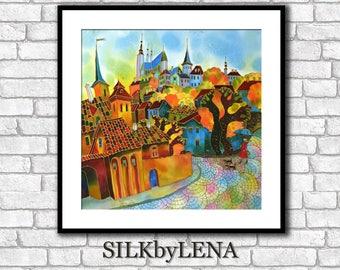 Fine Art Print Giclee art Print  City art  wall art print silk painting city scape  print modern fine art Prague painting Europe Painting