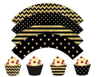 Happy New Year Cupcake Wrappers, Printable Cupcake Wrappers, New Year Theme Party Decor - Instant Download - DP503