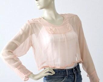 antique silk blouse, Edwardian pink top