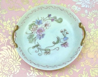Hand Painted Jewelry Dish, Vintage Floral Dish, Double Handled Trinket Dish, Gilded Handles, Artist Signed, c1940s
