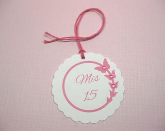 10 Pink White Butterfly Quinceanera Tags - Mis 15 Tags - Thank You Tags - Favor Tags