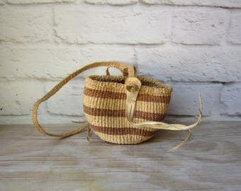 Small Straw and Leather Bag - Woven Crossbody - Concert Festival