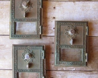 Set of 3 Industrial Modern Post office Box Doors - Decor - Display - Altered Art -Grecian Style Brass and Glass