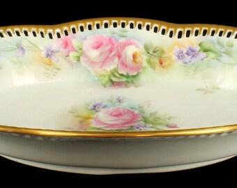Antique Signed HP Porcelain Reticulated Vegetable Dish Germany Roses Violets