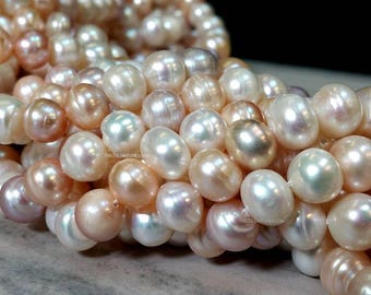 15 Inch Multi Colors 9 to 10 mm Natural Freshwater Pearl Potato Beads - Bridal Bridesmaid Pearl - June Birth Stone (G1034W28Q5)