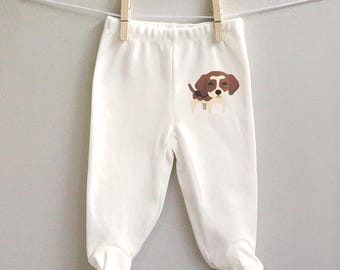 Beagle baby boy pants, cotton baby pants with feet, baby boy clothing, baby boy shower gift