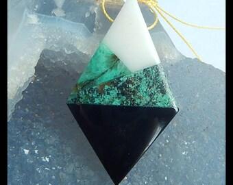New,White Jade,Chrysocolla,African Turquoise,Obsidian Intarsia Gemstone Pendant Bead,50x29x7mm,10.2g
