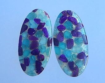 New,Sugilite,Blue Apatite,Shell Intarsia Gemstone Cabochon Pair,37x19x5mm,14.1g(Cpa034)