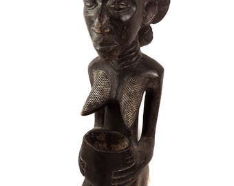 Hemba Bowl Bearer Congo Africa 39 Inch Gelb Collection 111564