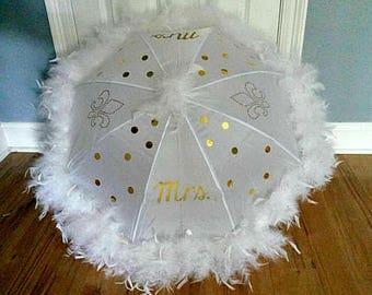 Wedding Umbrella New Orleans Second Line Feather Umbrella,  Large, ONE Umbrella, Black White or Cream