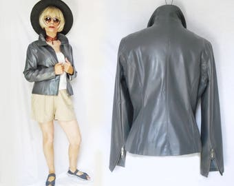Vegan Leather Jacket is Vintage Pleather, Faux Leather, a Short Vegan Jacket with Tapered Waist, 90s Vintage Vegan Clothing for Women