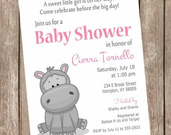 Little hippo baby shower invitations, hippo baby shower, hippo invitation, little hippo invitation, hippo baby shower invitations