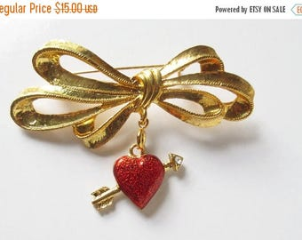 On Sale Phister Pin Heart Charm Bow Pin Holiday Pendant Brooch Vintage Phister Pin