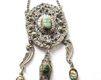 Egyptian Revival Faience Scarab Necklace Vintage Jewelry Gift