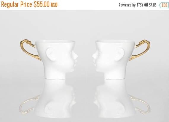 SALE Porcelain coffee mugs set of two,  ceramic mug, white and gold, cups set, tea mug, china cup, set of two