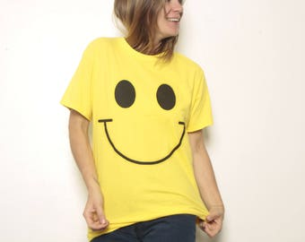 vintage SMILEY face 90s NIRVANA style shirt