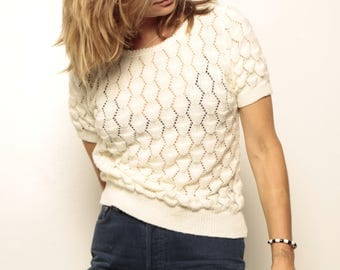 vintage CREAM mid-century slouchy KNIT ornate short sleeve sweater top