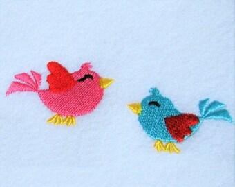 Little pretty birds 2 types mini designs, machine embroidery designs, mini accent designs