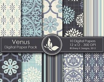 40% off Venus Paper Pack - 10 printable Digital Scrapbooking papers - 12 x12 - 300 DPI