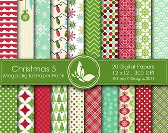 40% off Christmas 5 Mega Paper Pack - 20 Printable Digital papers - 12 x12 - 300 DPI //////5