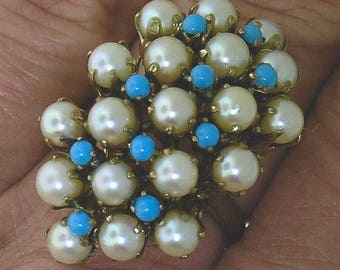 TURQUOISE and PEARL RING~Vintage 14k Yellow gold Turquoise & Pearl Ring, Circa 1920's