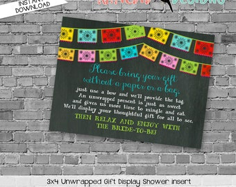 Display shower insert Unwrapped gift enclosure card Fiesta bridal shower invitation Couples Papel Picado invitation   301 katiedid designs