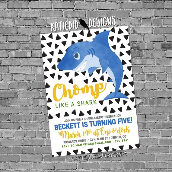 Shark Birthday little boy 1st birthday invitation co-ed baby shower triangle confetti twins brother sister blue yellow 2004 Katiedid Designs