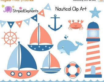 40% OFF SALE Nautical Clip Art - Sail Boat Clipart - Navy and Peach - Digital Clipart - Instant Download - Commercial Use