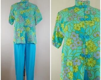 Vintage 1950s Japanese Lounge Set / 1950s Pajama Set / Medium Large