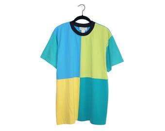 Vintage Jacques Morét Super 90's Color Block Teal Green & Yellow Crewneck Shirt, Made in USA