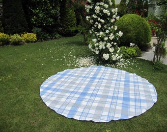 picnic beach cloth - large oversize beach cloth Classic plaid blue gray white round circle square cotton tablecloth Grass Lawn Yard Camp